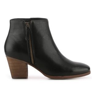 CROWN VINTAGE Sandy Black Real Leather Ankle Boots